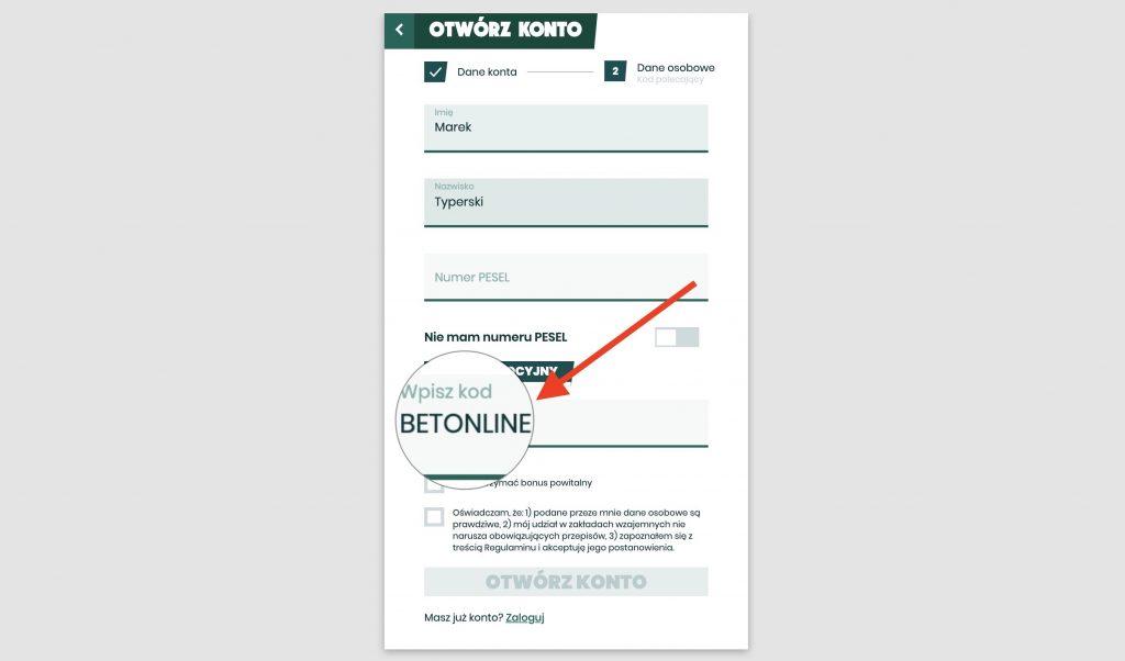 Betfan kod BETONLINE
